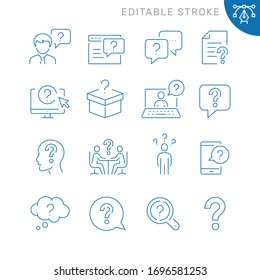 Question related icons. Editable stroke. Thin vector icon set