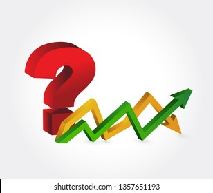 question stock market graph sign illustration design over a white background