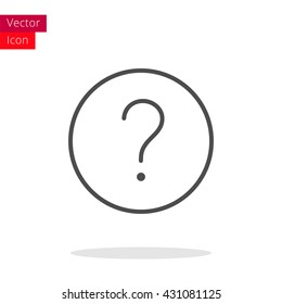 Question Thin Line Icon. Question Icon in circle. Vector Question Icon. Round Question Icon. Question Icon On white background. Question Icon Illustration. Question Sign