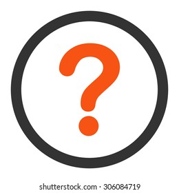 Question vector icon. This rounded flat symbol is drawn with orange and gray colors on a white background.