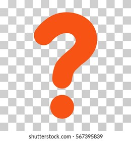 Question vector pictograph. Illustration style is flat iconic orange symbol on a transparent background.