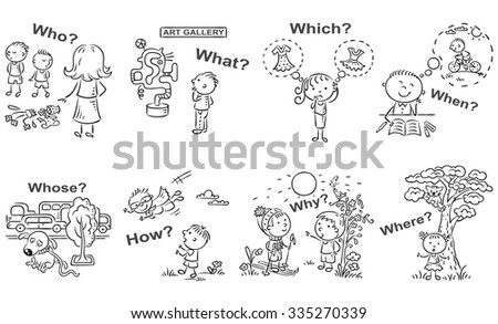 question words cartoon pictures visual aid stock vector royalty