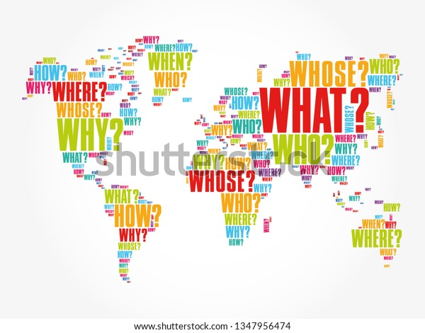 Question Words Shape World Map Word Stock Vector (Royalty