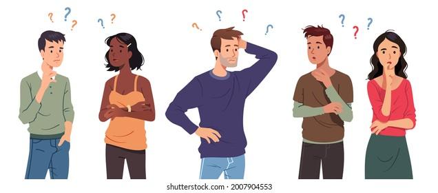 Menschen zu befragen, Männer, Frauen im Zweifel denken mit Fragezeichen über Kratzen Kopf. Verwirrte nachdenkliche Personen, berührendes Kinn, nachdenklich. Verwirrung, Kontemplationsset, flache Vektorgrafik