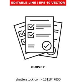 Fragebogenliste Bearbeitbare Vektorsymbol-Illustration, die als Zeichen für kurze Umfrage/Papierprüfung mit Checkliste entworfen wurde. Bericht Dokument mit Häkchen-Pensil-Markierung. Zusammenfassung des Geschäftsplans V1