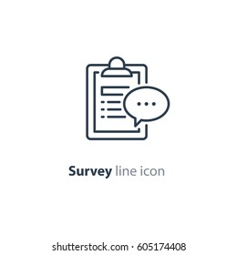 Questionnaire clip board and speech bubble line icon, quiz concept logo, consulting services, summary note pad, opinion poll vector