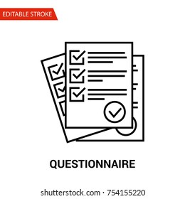 Questionnaire Icon. Thin Line Vector Illustration. Adjust stroke weight - Expand to any Size - Easy Change Colour - Editable Stroke - Pixel Perfect