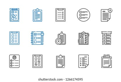 questionnaire icons set. Collection of questionnaire with clipboard, tasks, task, list, checklist, exam, test. Editable and scalable questionnaire icons.