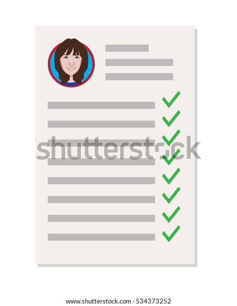 Questionnaire Resume Girl Vector Illustration Stock Vector
