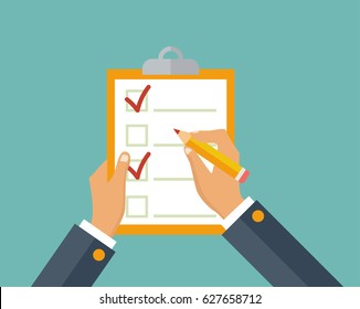 Questionnaire, survey, clipboard, task list. Filling out forms, planning. Attendance. Businessman holding checklist and pencil. Vector, flat design.