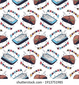 Questionnaires and liver. Seamless pattern on a white background. Cute vector illustration.