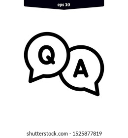 questions and answers icon. Q and A bubble speech icon. vector illustration. eps10
