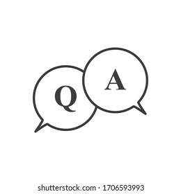 Questions and answers icon. Q and A speech outline and filled vector sign. FAQ stock vector illustration isolated on white.