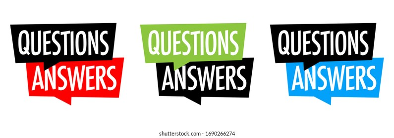 Questions answers on speech bubble