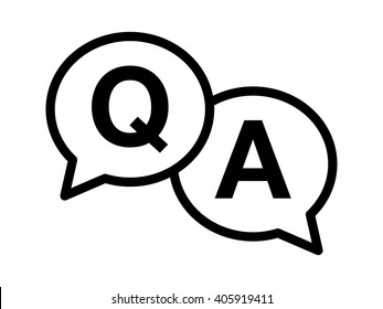 Questions & answers or Q&A speech bubbles line art vector icon for apps and websites