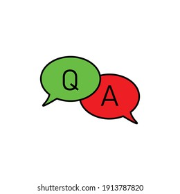 Questions and answers  speech bubble icon. Faq chat symbol