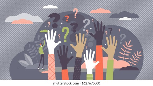 Questions concept, flat tiny person vector illustration with raised auditory hands. Public crowd participants wanting to find out answers. Stylized modern conference scene with question mark symbols.