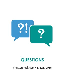 Questions icon isolated on white background. Questions icon simple sign. Questions icon trendy and modern symbol for graphic and web design. Questions icon flat vector illustration for logo, web, app,