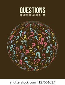questions icons over brown background. vector illustration