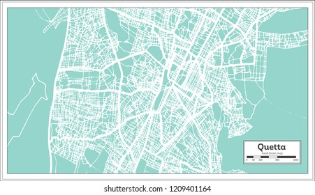 Quetta Pakistan City Map in Retro Style. Outline Map. Vector Illustration.