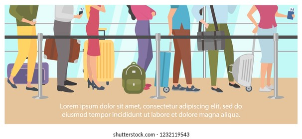 Queue at the airport on the plane. Air flight check queue. Airport check-in passengers standing in a long line before travel. Vector illustration.