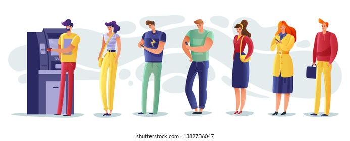 The queue at the ATM from cartoon people making payments and withdrawing money and make other transactions on a white background isolated icons