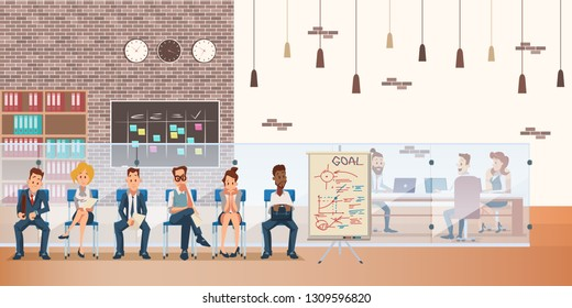 Queue of Candidate on Chair Wait for Job Interview. Group in Waiting Office Room. Nervous Employee Character Wear Formal Suit. Coworking Space Interior. Cartoon Flat Vector Illustration