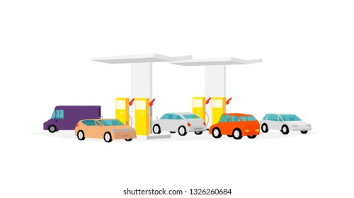 The queue of cars at the gas station. Filling station. Refilling fuel service. Petroleum gas station and cars. Petrol gasoline. Vector illustration.