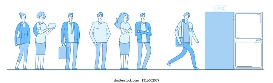 Queue at door. Adult people customers group in casual clothes standing in long line queue outside open door. Vector concept
