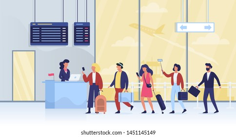 Queue to the gate in the airport. People with luggage walking through the security. Group of tourist wait in line. Vector illustration in cartoon style
