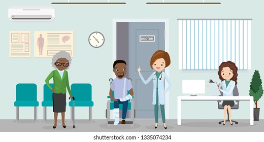 Queue at the hospital,woman doctor in uniform standing with patients,african american male with injury, interior with furniture,health care concept,flat vector illustration