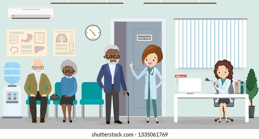 Queue at the hospital,Young nurse at reception desk in clinic and woman doctor dentist in uniform standing with elderly patients, interior with furniture,health care concept,flat vector illustration