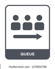 queue icon vector on white background, queue trendy filled icons from Birthday party and wedding collection, queue vector illustration