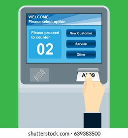 queue management system machine with ticket dispenser