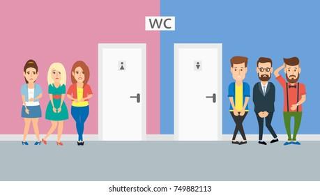 queue of men and women  at the toilet doors