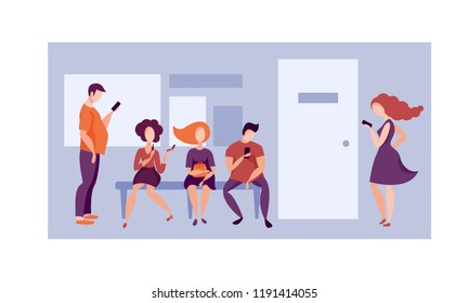 Queue to the office. Vector illustration.