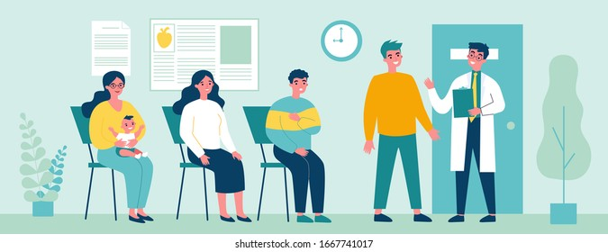 Queue of patient sitting at therapist office in clinic. People visiting medical practitioner for examination in hospital. Vector illustration for doctor, healthcare, medicine, health concept
