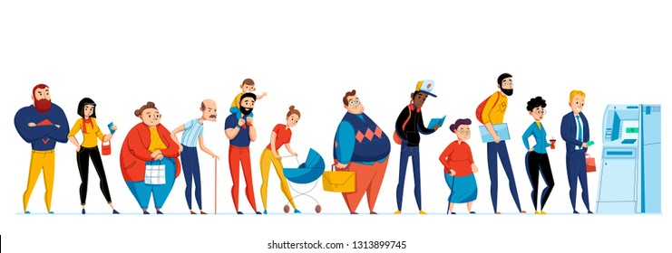 Queue people icon set with different people waiting in line to the ATM vector illustration
