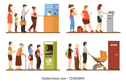 Queue people set with registry office and ATM symbols flat isolated vector illustration