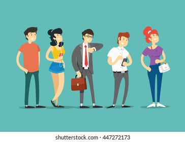 Queue of people. Vector illustration.