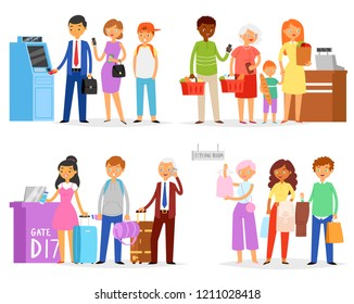 Queue vector people waiting line queuing in long row in supermarket to airport gate or ATM illustration set of woman or man character standing to fitting room isolated on white background