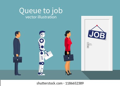 Queue to work man woman and robot. Future cooperation. Artificial intelligence. Standing in front of the door to work. Job search. Competition for place at work. Vector illustration flat design.