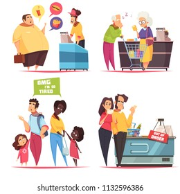 Queues characters concept 4 icons set with old young couples in supermarket and fastfood lines vector illustration