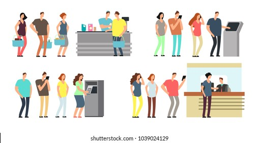 Queues of people vector set. Man and woman standing in line at atm, terminal and bank vector cartoon icons set. Queue man and woman to atm bank, finance banking counter illustration