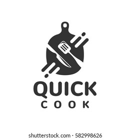 Quick cooking logo, fast food icon concept. Food studio vector logo concept. Kitchen tools. Food icon. Food and Cooking logo. Restaurant, Cafe vector logo template.