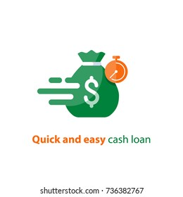 Quick and easy loan, fast money providence, business and finance services, timely payment financial solution vector icon