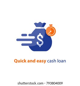 Quick and easy loan, fast money providence, business and finance services, timely payment, financial solution, vector icon