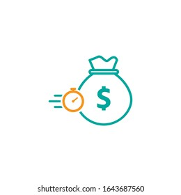 Quick and easy loan icon design. Fast money providence symbol. Vector illustration