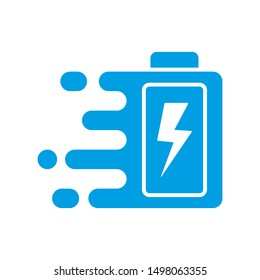 Quick and fast battery charging icon with thunder sign. Quick Charge logo. Vector Illustration. EPS 10