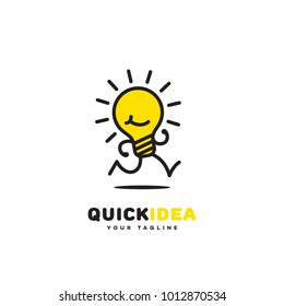 Quick idea logo template design with a running light bulb. Vector illustration.